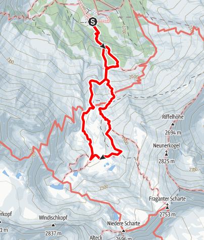 Karte / Rundtour von Kolm Saigurn über den Gletscherrundweg & zurück