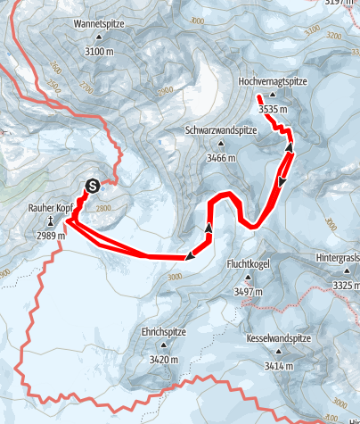 Karte / Rauhekopfhütte - Hochvernagtspitze