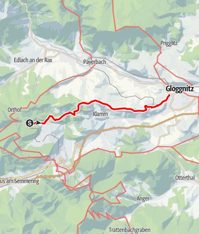 Karte / WAB - Regionale Route L: Kalte Rinne Breitenstein - Schloss Gloggnitz