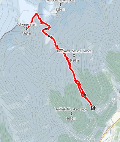 Karte / Schwarzenstein - Über die höchstgelegenen Hütte im Ahrntal auf den gleichnamigen Gipfel.