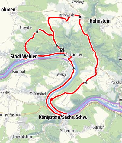 Karte / Kleine Bastei Rundtour durch die sächsische Schweiz