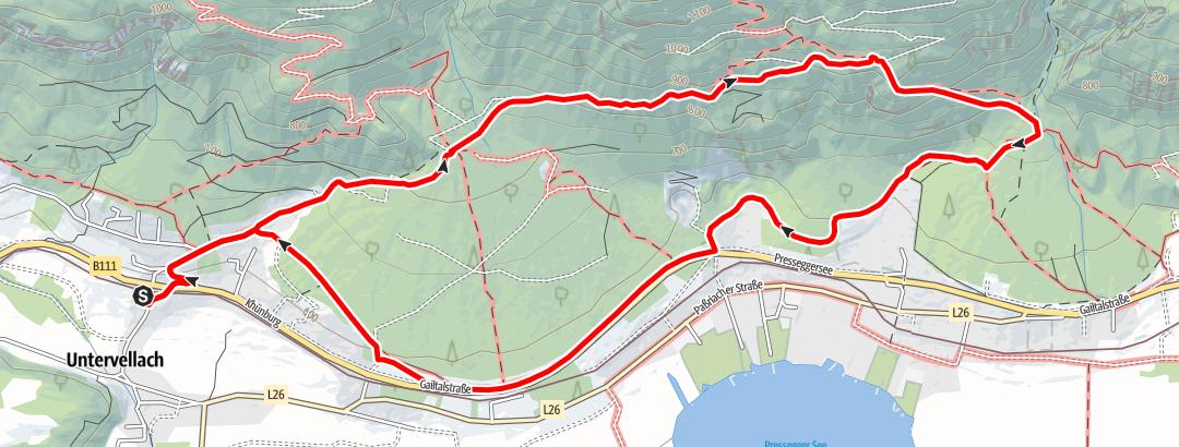 Static Map Muttergottesfelsen (900 m) ober dem Pressegger See