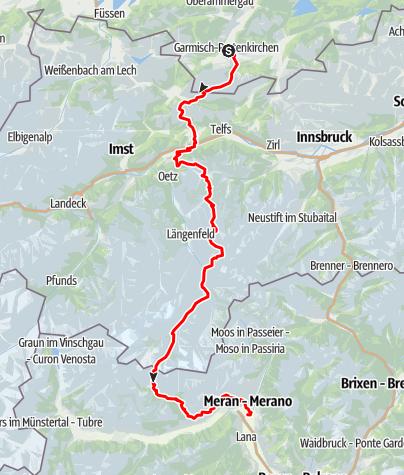 Karte / T1: Alpenüberquerung auf dem kurzen L1