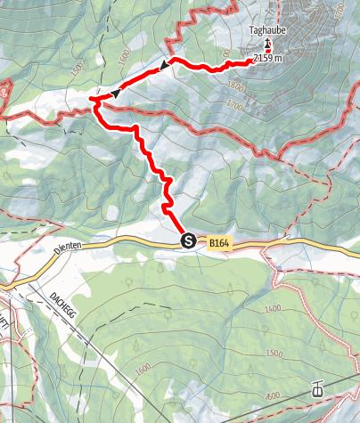 Karte / Parkplatz Erichhütte - Erichhütte - Taghaube und retour