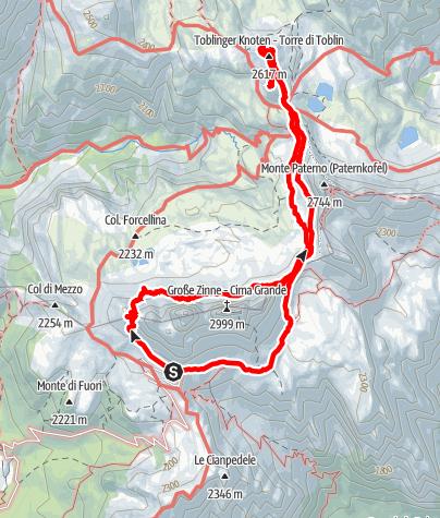Map / Rund um die Drei Zinnen mit drei Gipfeln