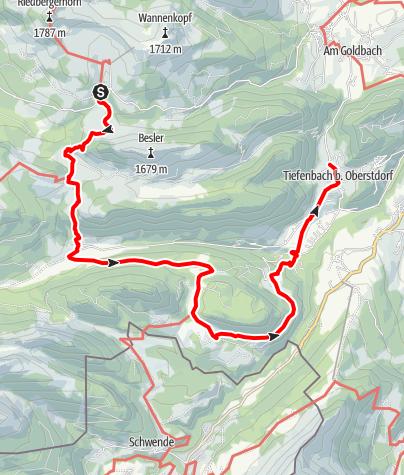 Karte / Riedberg/Mittelalpe-Rohrmoos-um den Engenkopf-Tiefenbach am 19. Juni 2017