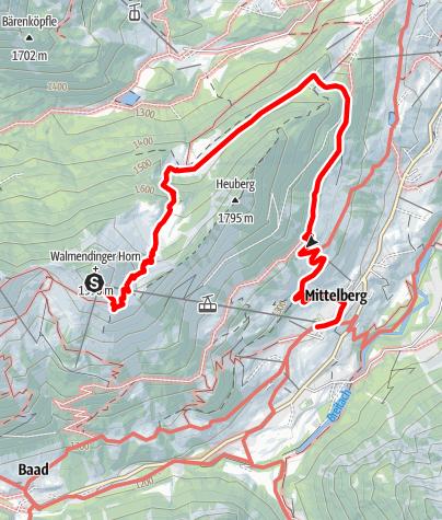 Karte / Walmendinger Horn - Obere Walmendinger Alpe - Nebenweg zum Heuberg - Zaferna - Mittelberg am 23. Juni 2017
