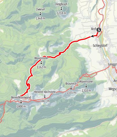 Karte / Alpenüberquerung Bad Tölz - Bozen Etappe 1