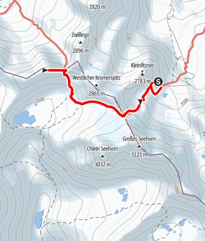 Karte / Westliche Plattenspitze von der Saarbrücker Hütte