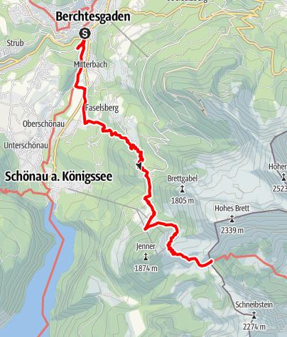 Karte / Rund Königssee 1.Tag; Berchtesgaden Carl-von-Stahl-Haus