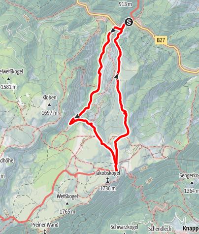 Mappa / Klettersteigrunde im Höllental (Gaislochsteig, Gustav-Jahn-Steig, Alpenvereinssteig)