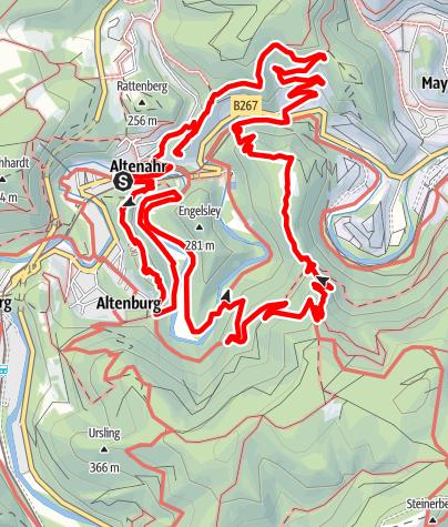 Karte / Tourenplanung Altenahr-Teufelsloch-Ahrschleife-Teufelslei-BurgAre