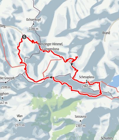 Karte / 3 Länder 3 Tage auf und um die Schesaplana