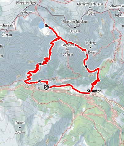 Map / Südtiroler Tribulaunhütte - über den Tiroler Höhenweg