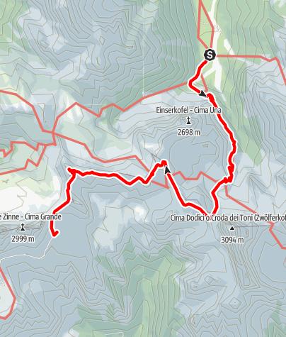 Map / Talschlusshütte bis Lavaredohütte mit Überschreitung vom Paternkofel