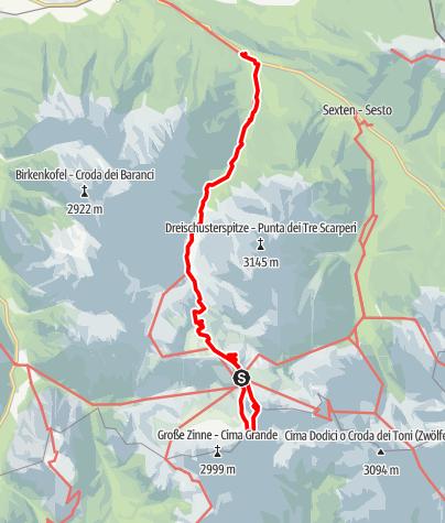 Map / Klettersteig Paternkofel und Toblinger Knoten und zurück ins Tal