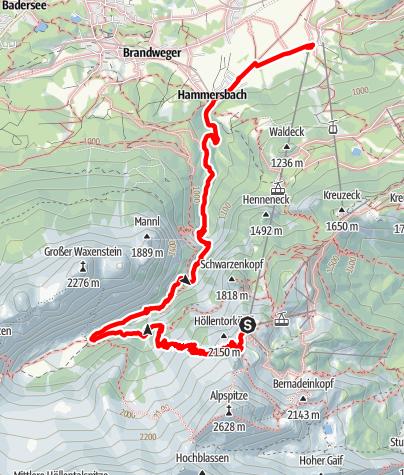 Karte / Osterfeldkopf - Höllentalangerhütte -  Hammersbach - Talstation Alpspitzbahn