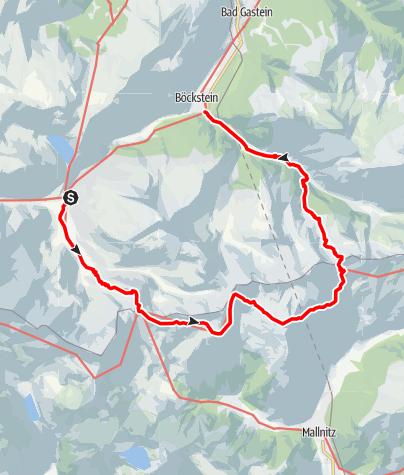 Karte / Sportgastein, Hagener Hütte, Mindererhütte, Böckstein