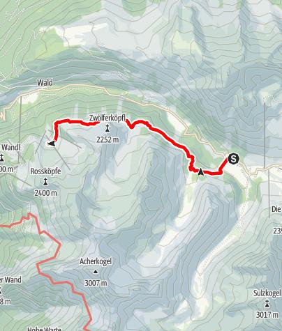 Karte / Kühtai, Speicher Längental - Balbach Alm