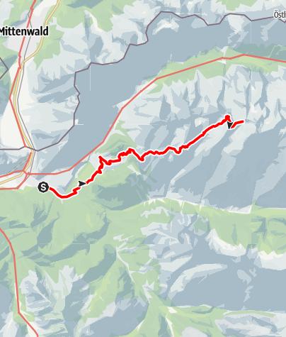 Karte / Wandertour Karwendel Aufstieg