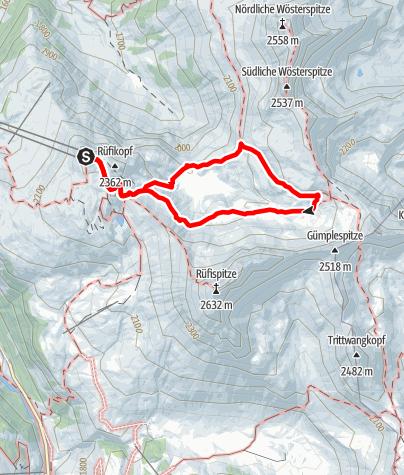 Karte / Rüfikopfrunde über Ochsengümple