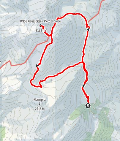 Karte / Wildensee - Wilde Kreuzspitze - Brixner Hütte