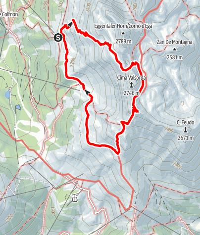 Karte / Rundwanderung Oberholz - Gamsstallscharte - Rifugio Torre di Pisa - Oberholz