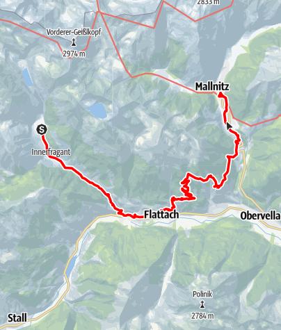 Karte / Innerfragant - Laas - Flattach - Mannitz (Etappe 6: Alpe-Adria-Trail)