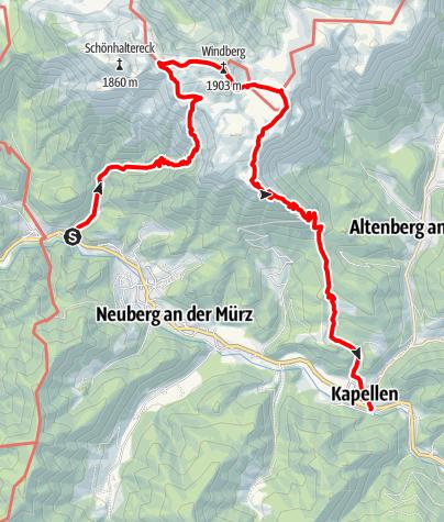 Karte / Krampen - Windberg (Schneealpe) - Kapellen