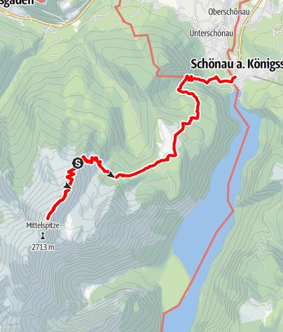 Karte / Hüttentour Berchtesgaden - Etappe 7: Watzmannhaus - Hocheck - Kührointhütte - Königssee