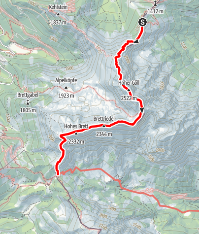 Karte / Hüttentour Berchtesgaden - Etappe 2: Purtschellerhaus - Hoher Göll - Carl-von-Stahl-Haus