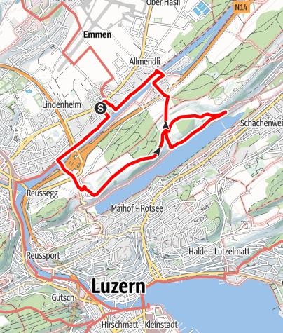 Map / PW Emmen LU, 10 km Strecke