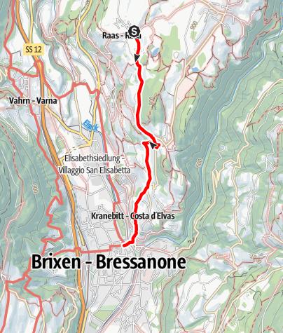 Karte / Wanderung von Raas durch die Weinberge nach Brixen
