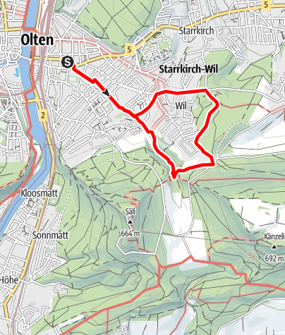 Map / PW Olten SO, 6 km Strecke