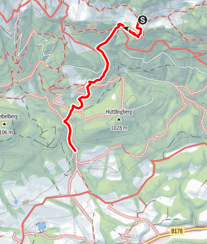 Map / Kaiserkrone - alternative route via Schleier Waterfall