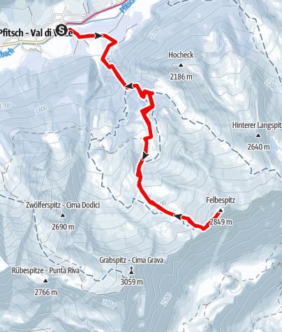 Karte / Skitour auf die Felbe
