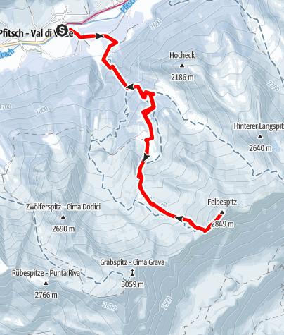 Karte / Skitour auf die Felbe / Pfitsch