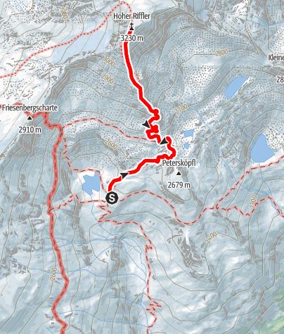 Karte / Hoher Riffler vom Friesenberghaus