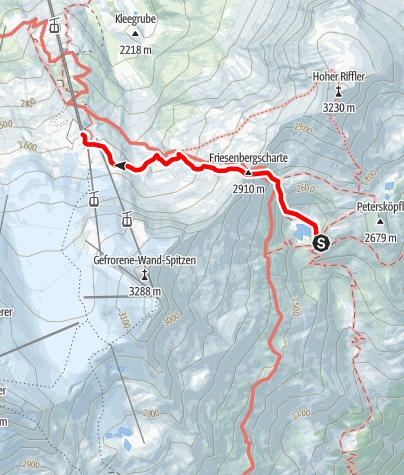 Karte / Friesenberghaus: Übergang ins Sommerskigebiet Hintertux über die Friesenbergscharte