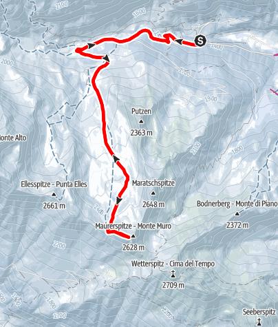 Karte / Skitour zur Maurerspitze