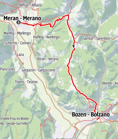 Karte / E5 Variante: Zu Fuß über die Alpen: Meran-Bozen