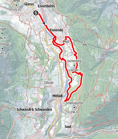 Map / PW Glarus GL, 12 km Strecke, Sommer