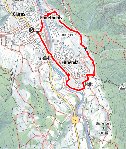 Map / PW Glarus GL, 6 km