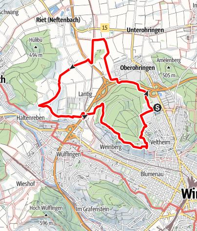 Map / PW Wintherthur ZH, Taggenberg 11 km Strecke