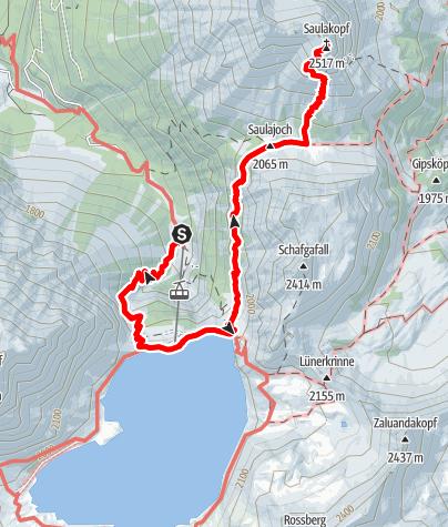 Karte / Vom Lünersee auf den Saulakopf (2517m)