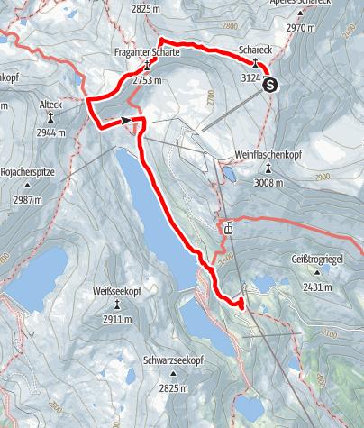Karte / BB2018-04A Baumbachspitze, Schareck, Herzog-Ernst-Spitze en Goldbergernkogel
