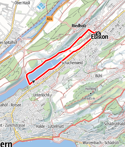 Map / PW Ebikon LU, 5 km mit Fähre