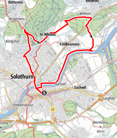 Map / PW Solothurn SO, 11 km Strecke
