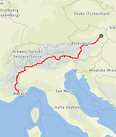 Karte / Alpendurchquerung Wien Nizza