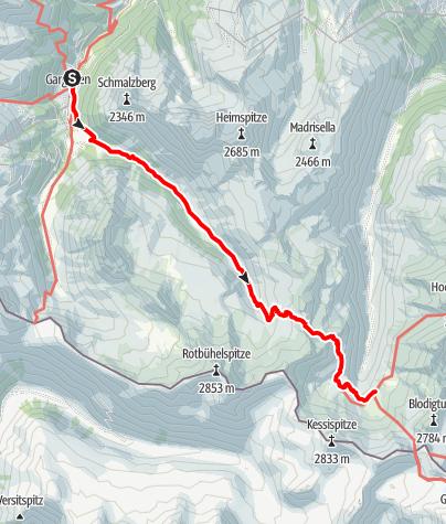 Karte / Gargellen-Tübingerhütte